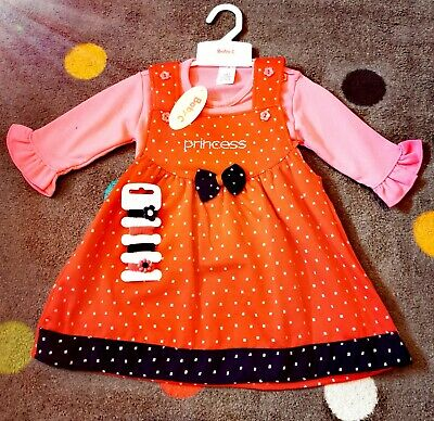 New Baby Girls Age 6-9 Months Dress 3 Piece Outfit Set Romany Spanish Style cute