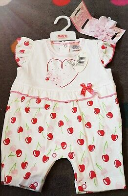 New Baby Girls Age 3-6 Months Romper And Headband Set Spanish Romany Style cute