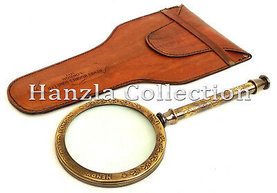 Maritime Henry Hughes London Brass Magnifying Glass Antique Magnifier With Case