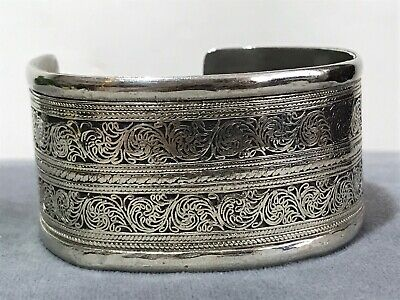 Antique Silver Asian Chinese Silver Bangle Dragon Unusual