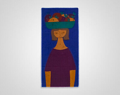 Vintage Original 1960s HUGE Blue Girl w/ Fruit Basket Fabric Wall Hanging