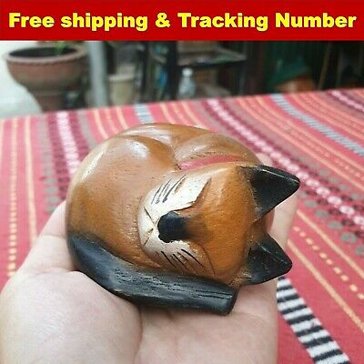 Wooden Cat Head Hand Carved Rain Tree Wood Home Decor Collectible Gift Cute