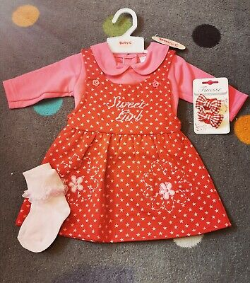 New Baby Girls Age 0-3 Months Dress outfit 4 Piece Set Romany Spanish Style cute