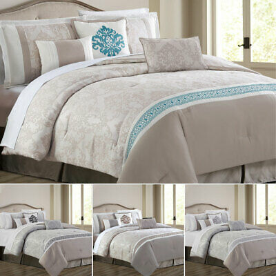 3 Piece Modern Floral Quilted Bedspread Bed Throw Double King Super King Size