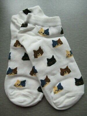 NEW Ladies Girls (1 Pair) Ivory Cat Face Trainer Socks Ginger Calico Black White