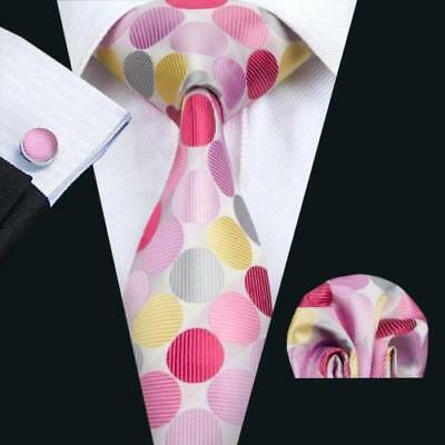 LUXURY GIFT SET Mens White Multi Polka Dot Silk Tie Handkerchief Hanky Cufflinks