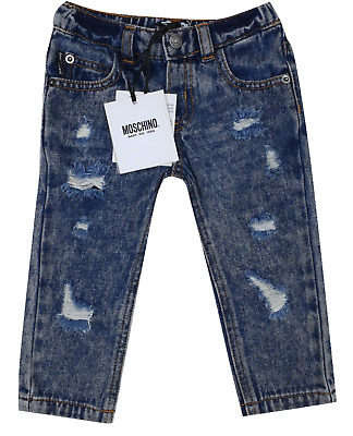 NEW Moschino RRP£105 AGE 9-12 MONTHS Kids Boys Childrens Ripped Jeans Pants A708