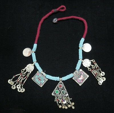 Old Authentic Handmade Antique Ethnic Nepal Tibetan Silver Necklace Jewelry