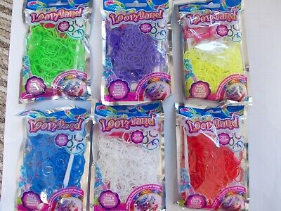 YELLOW RED GREEN BLUE PINK BLACK 105,000 LOOM BANDS WHITE 350 BAGS OF MIX