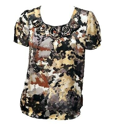 NY Collection Womens Black Gold Gray Print Short Sleeve Scoop Neck Top Sz L