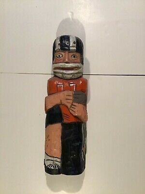 Vintage Hand Carved & Painted Wooden Football Player Whiskey/Wine Bottle Holder