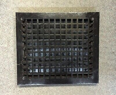 OLD LRG Floor GRILLE CAST IRON VICTORIAN 14x12 w/ LOUVERS Grate HEAT REGISTER