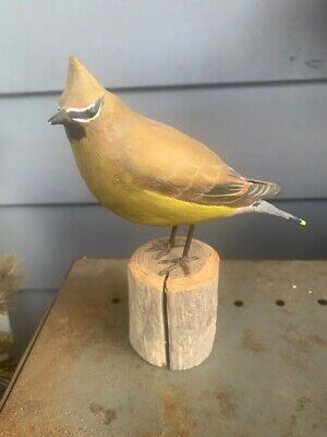 Peter Peltz Hand-Carved/Hand-Painted Cedar Waxwing Songbird