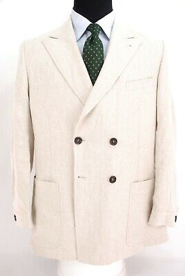 Oliver Spencer Dbl Breasted Ecological Linen 1/2 Lined Sport Coat Cream 44R
