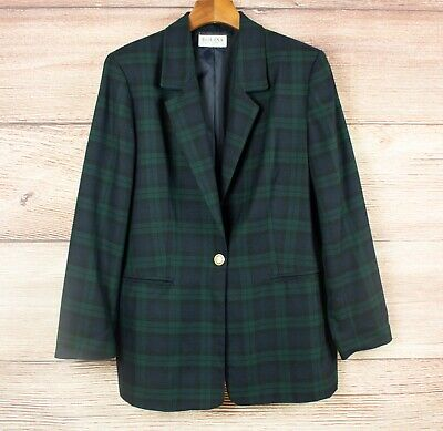 Vintage Dolina 80s/90s green and navy plaid check blazer jacket size 16