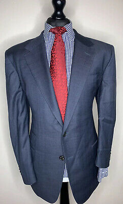 GIEVES & HAWKES SAVILE ROW LONDON LUXURY SUIT BLUE MODERN TAILORED FIT 44x38x31