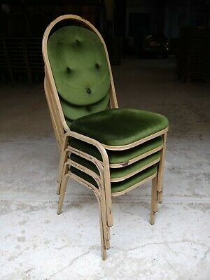 Vintage Kitsch Green Velvet Stacking Chairs - Cafe Bar Restaurant - 80 Available