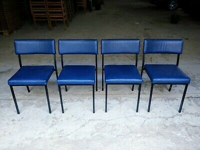 Vintage Blue Vinyl Stacking Chairs - Cafe Bar Restaurant - 35 Available