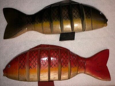 Vintage Articulated, Moveable Wooden Fish Sculptures, Hand Carved Decorative