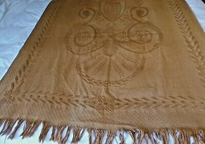 Antique Victorian portiere door curtain woven jacquard apricot
