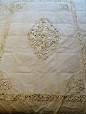 Antique battenburg lace and net hand sewn bed tester canopy