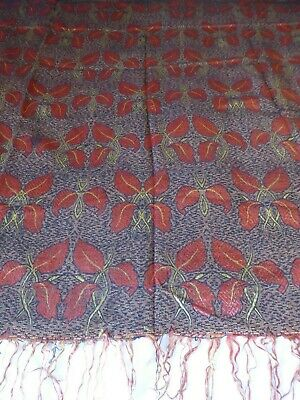 Antique silk cotton Art Nouveau jacquard weave fabric throw black, gold, red