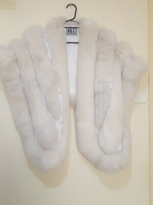 AMAZING Authentic V2  by VERSACE   Genuine FOX  Fur Stole/Wrap white silver