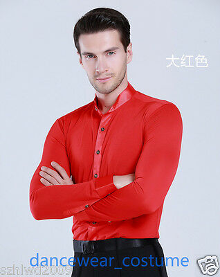 Men Party Ballroom Latin Tango Modern Rhythm Salsa Dance Shirt Tops Long Sleeve