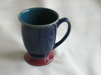 Denby Langley Harlequin Footed Mug Dark Blue Exterior w/ Speckled Green England