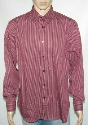 Canali Men's Button Down Italy Long Sleeve Striped Burgundy Shirt Size - L