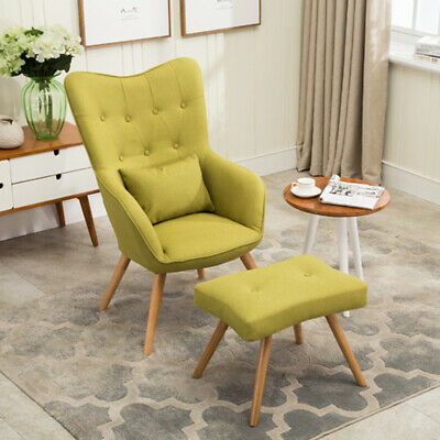 Line Fabric Accent Retro Armchair Home Scandinavian Modern Occasional Tub Chairs