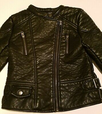 Zara Girls Faux Leather Motorcycle Jacket Zip Up sz 7/8 EUC