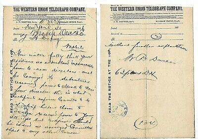 1876 Western Union Telegraph Company, 2 Page Business Telegram New York ~ Mobile