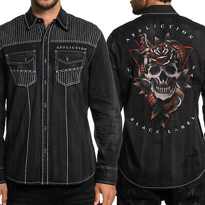AFFLICTION Men Button Down Shirt TERRITORIAL American Customs BURG Skull $68 NWT