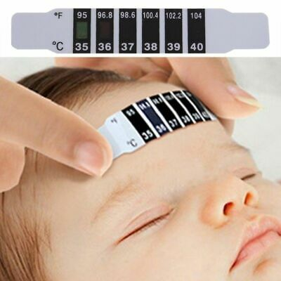 5Pcs Kids Forehead Head Strip Thermometer Test Paper Baby Fever Body Temperature