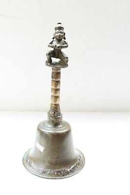 Antique Solid Bronze Huge Size Garuda Engraved Religious Temple Hand Bell NH6086