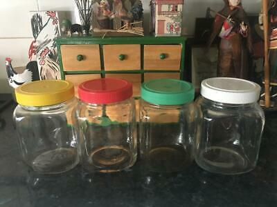 Vintage Harlequin Glass Jars/Canisters (4) Coloured Plastic Lids /Rare Buy Now