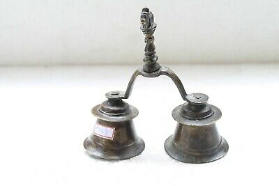 Old Solid Brass Hindu Holy Religious Nandi Engraved Double Hand Bell NH5143
