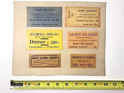 Six 1904 Reserved Seats / Dinner / Admit One / Initiation / Admission Tickets