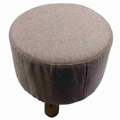 Modern Luxury Upholstered Footstool Round Pouffe Stool + Wooden Leg Pattern S6A5