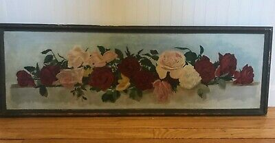 "Antique Painting Red, Yellow Pink Roses Shab Chic Framed Very old 38"" x 13"""
