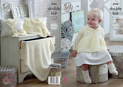 S3011 Vintage Knitting Pattern Baby Jacket Mittens Bootees Hat Blanket DK Repro