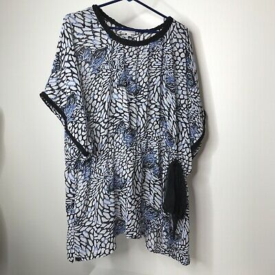 Fashion Bug Top Size 4X Sheer Abstract Floral Leaf Print Elastic Waist Side Tie