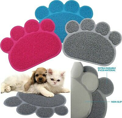 Paw Shaped PVC Non Slip Bowl Feeding Mat Placemat for Pet Dogs and Cats,40 x30cm