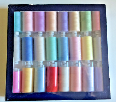 COATS MOON Spun Polyester Thread 24 Reels*1000 yards each - Pastel Shades Box