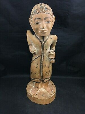 Vintage Carved Wooden Figurine Hand Painted Woman with Bag