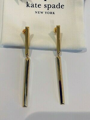 """Kate Spade New York gold plated """"Raise the bar"""" double drop earrings"""