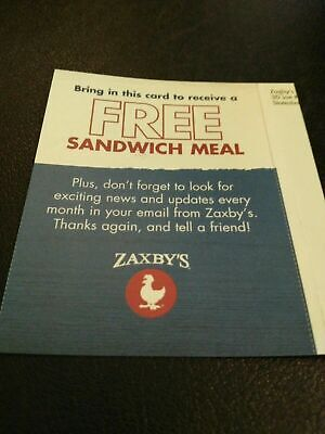 4 Zaxby's  FREE Sandwich Meal - Combo Meal Cards