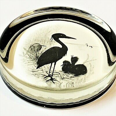 Herons Glass Disc Paperweight 9.5cm, by Miniature World of Peter Bates, England
