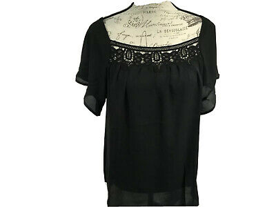 Chelsea & Theodore Boho Blouse Women's Medium Black Patchwork Lace Accent New